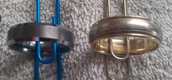 Tungsten & gold ring