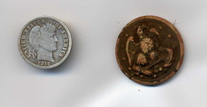 Barber Dime and Military Button