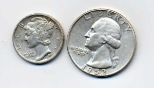 1941 silver mercury dime and 1952 silver Washington quarter