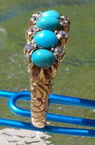 14k Gold, Diamond & Turquoise Victorian Ring metal detecting find
